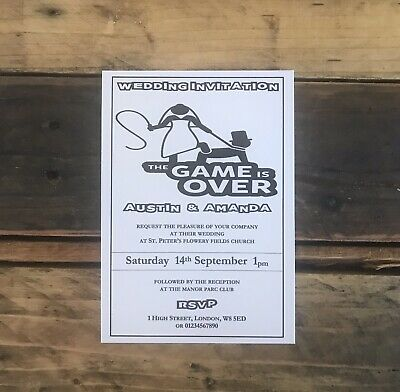50 Personalised Wedding Invitations A6 Game Over Funny