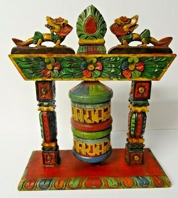 Antique style wooden hand carved and painted Tibetan Buddhist Prayer Wheel Nepal