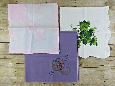 Lot of 3 vintage tablecloths, 40's/50's with embroidery, appliqué, print, retro
