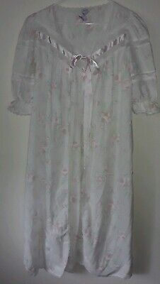 Vintage Take Nine Maternity/Nursing Nightgown And Robe Floral Lace Med