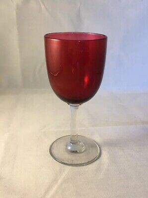 Antique English Ruby Cranberry Glass Victorian Wine Glasses 19th Century