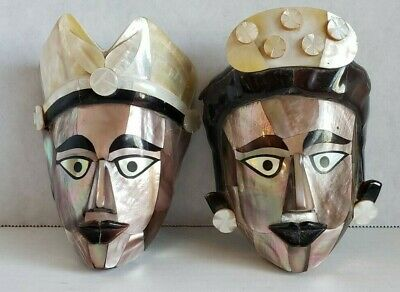 """Abalone shell face masks set of 2 faces Mayan African tribal style unique lot 5"""""""