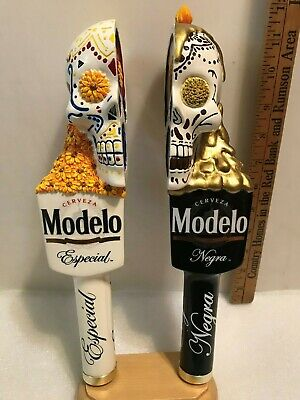 MODELO ESPECIAL AND NEGRA SUGAR SKULLS beer tap handles. MEXICO. NEW IN BOX