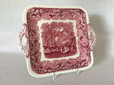 "Mason's VISTA Pink Red Transferware 9"" SQUARE Handled TRAY England Free U.S Ship"