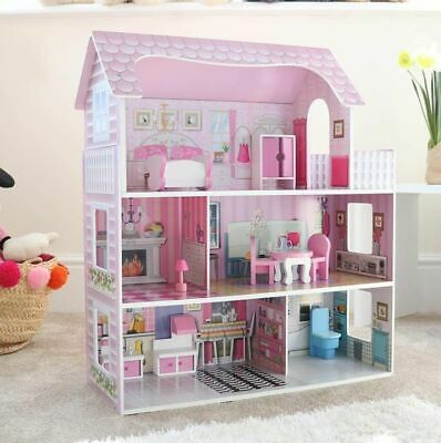 3 Storey Wooden Playhouse Children Dolls House Furniture Accessories Toys Kids