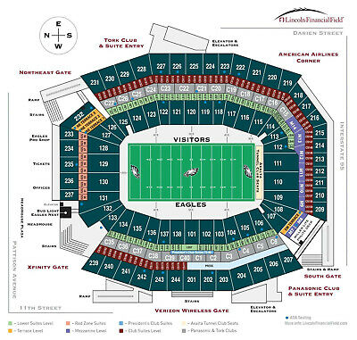 2 Eagles vs. Lions Tickets Sept. 22, 2019 @1pm Sec. 214, Row 5 UNOBSTRUCTED VIEW
