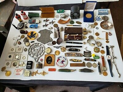 Huge Estate Junk Drawer Lot  Military  Coins Knives Watches Pens Toys Tokens Fob