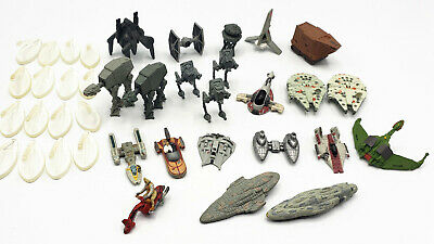 Star Wars Micro Machines loose lot 22 ships w/stands - Slave I, AT-AT, M. Falcon