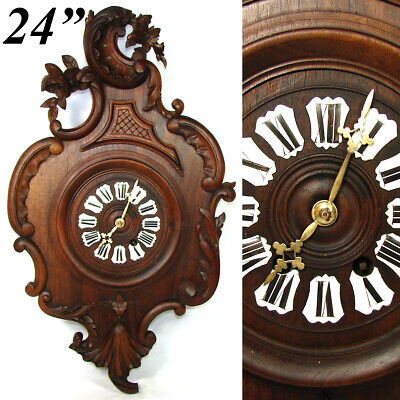 """Antique French Black Forest Country French Carved 24.25"""" Parlor Clock, Louis XV"""