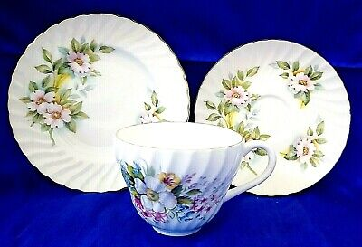 🌟  Floral Swirl Crown Staffordshire Trio Teacup Saucer Side Plate