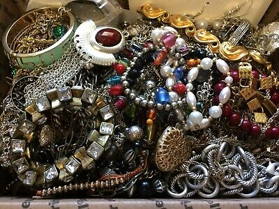 Junk Drawer Jewelry Lot - Wear, Repair And Scrap - 8 Pounds 3 Ounces - 3602