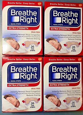 LOT OF 4 Breathe Right Extra Strength Nasal Strips - 26 Count Each DMG BOX