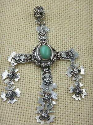 Antique Mexican Sterling Silver Green Turquoise Stone Yalalag Cross Pendant