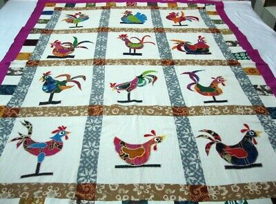 """Machine sewing and applique work  handmade size  52""""x 70"""" quilt top"""
