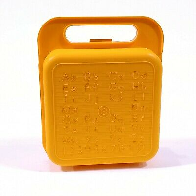 Vtg Tupperware Heavy Duty Yellow ABCs &123s Lunchbox