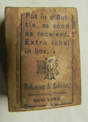 Antique Wood Prescription Drug Box with Paper Label McKesson & Robbins NY