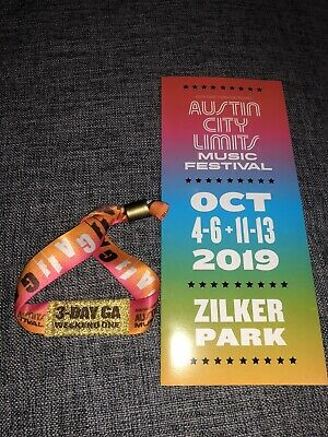 2019 Austin City Limits Fest Weekend One 3-Day GA Wristband for October 4-6