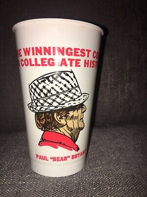 Vintage New Old Stock Paul Bear Bryant 315 Wins Alabama Football Icee Cup