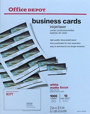 """Office Depot 8371 Business Cards 1,000 cards 2"""" x 3 1/2"""" Matte White DIY 388302"""