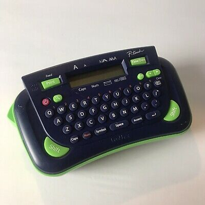 Brother P-Touch Model PT-80 Label Maker and Printer Machine Navy Blue Green EUC