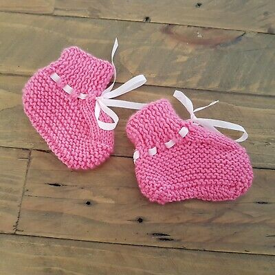 BABY KNITTED BOOTIES Pink Girls Winter Warm Newborn New Size 0000