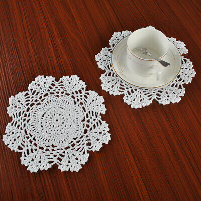 4Pcs/Lot White Vintage Cotton Hand Crochet Lace Doily Doilies Round Wedding 7.8""