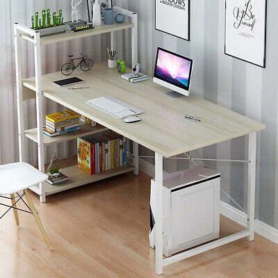 Computer Desk Table Laptop Display w/ 4 Tier Bookshelf Study Writing Home Office