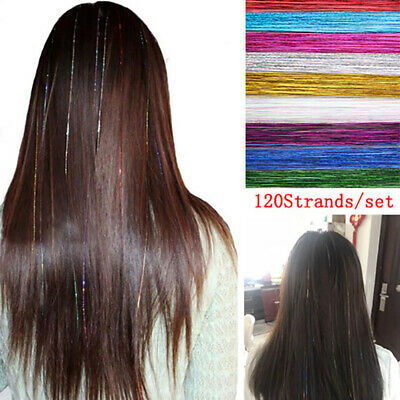 120Strands Hair Tinsel Bling Silk Hair Flare Strands Glitter Rainbow