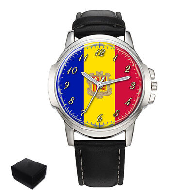 Principality Of Andorra Flag Gents Mens Wrist Watch  Gift Engraving