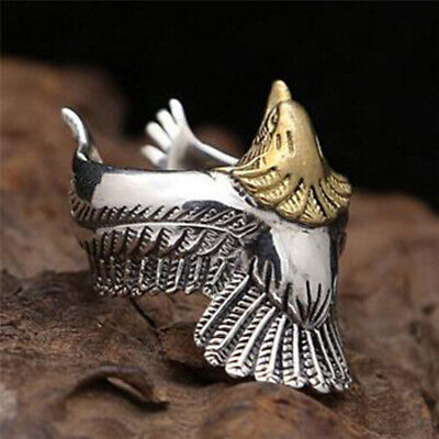Retro Adjustable Metal Silver Ring Punk Eagle Bird Wing Open Band Ring Men Ma wy