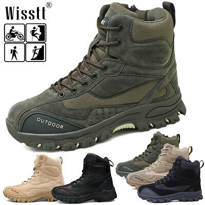 Mens Military Tactical Survival Ankle Boots Desert Combat Zip Army Hiking Shoes
