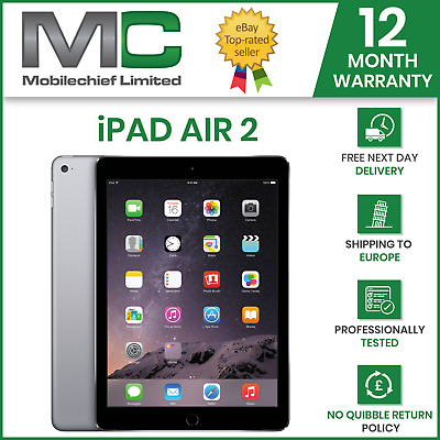 Pristine Apple iPad Air 2 16GB Wi-Fi 9.7in Retina - Space Grey - 12M Warranty