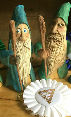 Hand carved wooden Wizard Gnome Elf  Award Winning Canadian Carver 8""