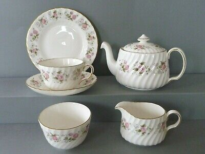 Minton Spring Bouquet Tea Set For One - Teapot Jug Bowl Trio: Cup Saucer Plate