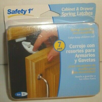 NEW - Safety First 7 Pack Cabinet & Drawer Spring Latches - White