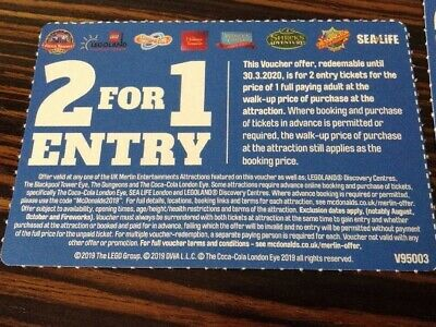 1 Voucher 2 For 1 Entry At UK Merlin attractions Lego Alton Towers Thorpe
