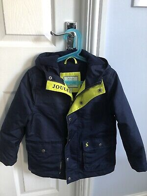 Joules Boys Navy and Yellow Playground Coat Age 6