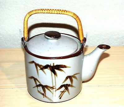 Vintage Gray & Brown Wheat Teapot, 6 Cups, Made in Taiwan, Bamboo Handle