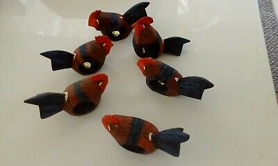 set 6 wooden hen napkin rings