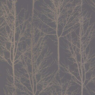 Holden Decor Rhea Zandra Dark Grey Rose Gold Trees Wallpaper Metallic Shine