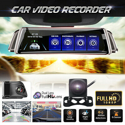 10'' 1080P Car Dual Lens Auto DVR Mirror Dash Cam Night Vision Recorder Rearview