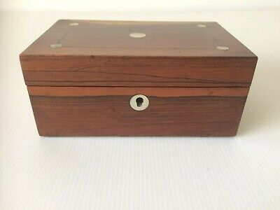 Vintage/Antique Inlaid with Mother of Pearl Small Wooden Trinket Jewellery Box