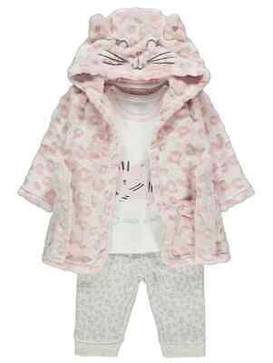 Girls Kitten cats Fleece Dressing Gown & Pyjamas 0-24 MONTH pink