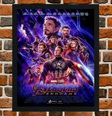 Framed Avengers Endgame Movie / Film Poster A4 / A3 Size In Black / White Frame