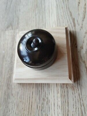 Vintage Round Bakelite Light Switch Antique Art Deco Old Dolly Crabtree one way