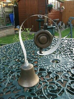Antique Door Bell Large Heavy Cast Iron Brass Sprung Old Primitive Rustic