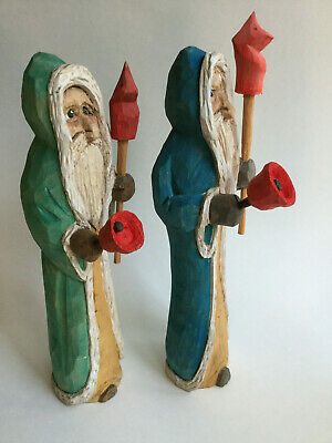 """Hand carved wooden Father Christmas Award Winning Canadian Carver 10"""""""
