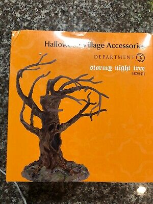 Dept 56 Halloween Village Stormy Night Tree w Scary Face 4025411 Mint in Box
