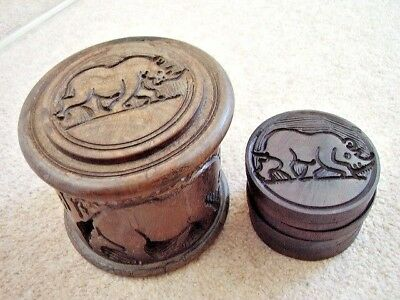 Carved African COASTERS DRINKS TABLE MATS IN STORAGE BOX,RINO