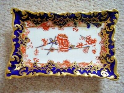 ANTIQUE Royal Crown Derby porcelain 'Imari Pattern 2649' Unusual Shaped pin dish